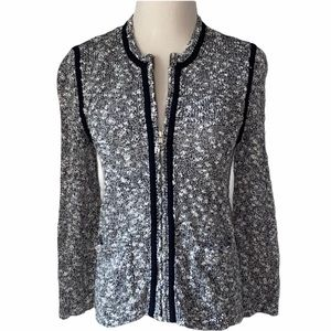 ANN TAYLOR Knit Sweater Cardigan Jacket Black White Size Small